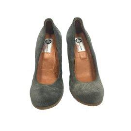 Lanvin-Escarpins compensés en daim gris-Gris