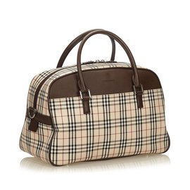 Burberry-Haymarket Check Jacquard Travel Bag-Brown,Multiple colors,Beige