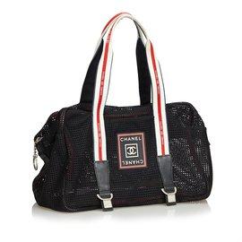 Chanel-Sac à bandoulière Mesh Sport Line-Noir,Multicolore