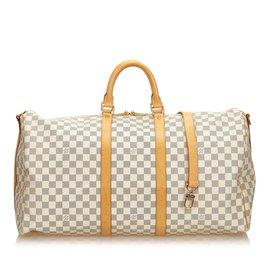 1806f26c4e9 Louis Vuitton-Damier Azur Keepall Bandouliere 55-Blanc