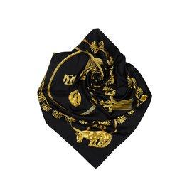 Hermès-Foulard Les Cavaliers d Or-Noir,Doré