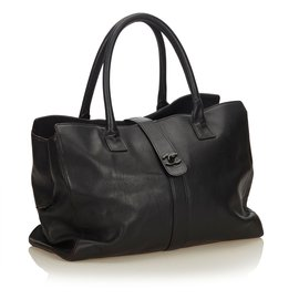 Chanel-Sac à main en cuir-Noir