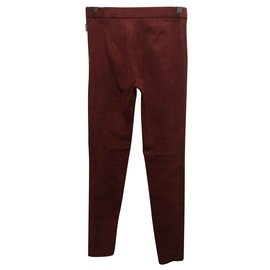 American Vintage-Lambs leather trousers-Rouge