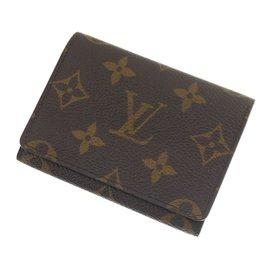 Louis Vuitton-Etui cartes de crédit / cartes de visite LOUIS VUITTON-Marron