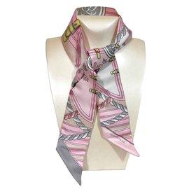 Hermès-Twilly rose et gris perlé en soie Hermès neuf-Rose,Blanc,Gris