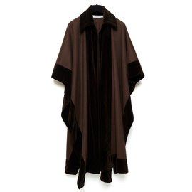 Yves Saint Laurent-brown wool and velvet-Marron