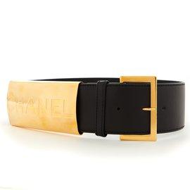 Chanel-CHANEL BELT T70 NEW BLACK GOLD-Noir
