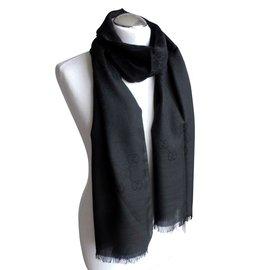 Gucci-écharpe en soie gucci woll noir nouveau-Noir