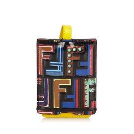 Fendi-Zucca Leather Bag Tag-Black,Multiple colors