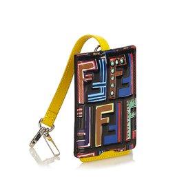 Fendi-Étiquette de sac en cuir Zucca-Noir,Multicolore