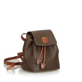 Céline-Macadam Drawstring Backpack-Brown