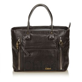 Chloé-Leather Eclipse Tote-Brown,Dark brown