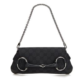 392516c9ddbc Gucci-Horsebit Jacquard Handbag-Black ...