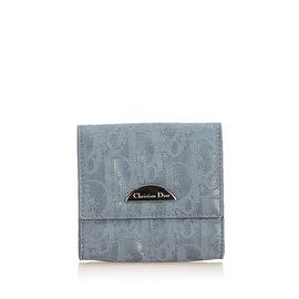 Dior-Pochette à monnaie en nylon oblique-Gris