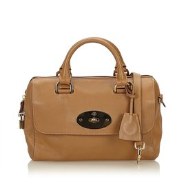 Mulberry-Leather Del Rey Satchel-Brown,Light brown