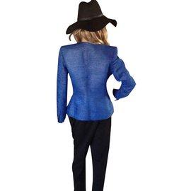 Yves Saint Laurent-BLAZER CHYC EN SOIE BLEUE ET FIL OR-Bleu clair