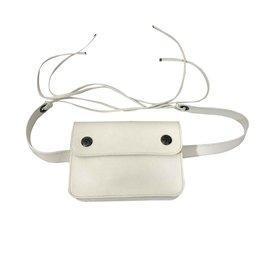 Hermès-Sac ceinture banane Hermès en cuir-Blanc