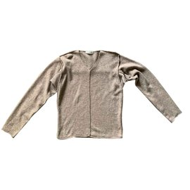 Issey Miyake-Sweater 100% wool beige taupe heather Size S-Beige,Taupe