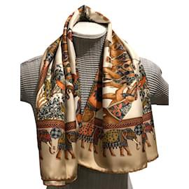 ... Autre Marque-Carré foulard Soie Imprimée finition main-Beige,Corail a703e3f3917