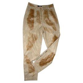 Just Cavalli-Pantalons en cuir-Marron,Beige