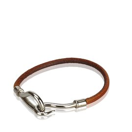Hermès-Bracelet Crochet Jumbo-Marron,Argenté
