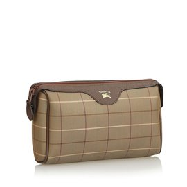 Burberry-Plaid Jacquard Clutch Bag-Brown,Multiple colors,Khaki