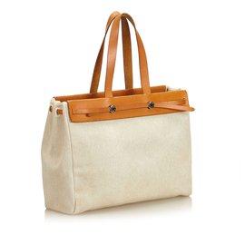 Hermès-Herbag Cabas MM-Brown,White,Cream,Light brown