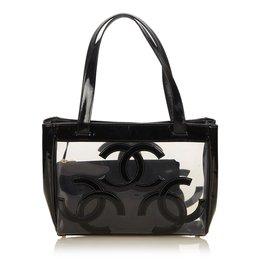 Chanel-Sac cabas en vinyle transparent-Noir