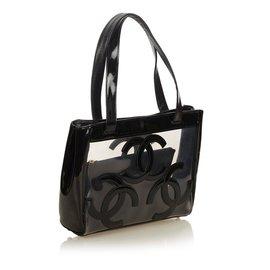 Chanel-Clear Vinyl Tote Bag-Black