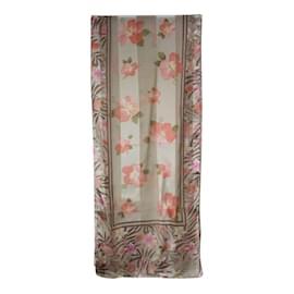 Oscar de la Renta-Foulard en soie à fleurs-Multicolore