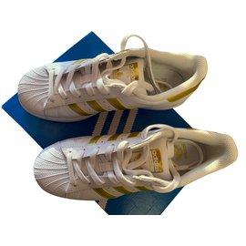 Adidas-Basket Adidas Superstar Bande de couleur Gold Neuve-Blanc