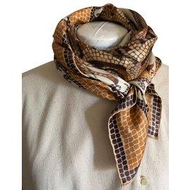 Autre Marque-Carré foulard NEPTUNE Soie Imprimée finition main-Marron,Beige,Blanc  ... 93eb21ae0d4