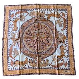 ... Autre Marque-Carré foulard NEPTUNE Soie Imprimée finition main-Marron, Beige,Blanc f4c899e04cb
