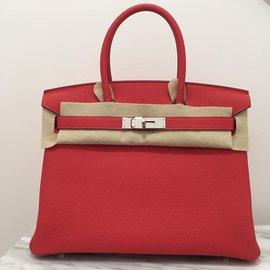 Hermès-Hermes Birkin 30 cm cuir Togo retourné Pivoine-Rouge