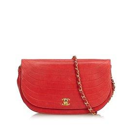 Chanel-Sac à bandoulière en chaîne en peau d'agneau-Rouge