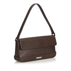 Burberry-Leather Baguette-Brown,Dark brown