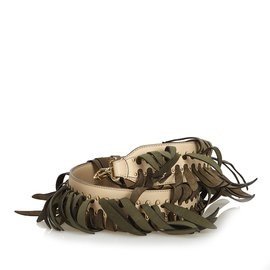 Fendi-Bracelet en cuir frange vous-Marron,Beige,Vert
