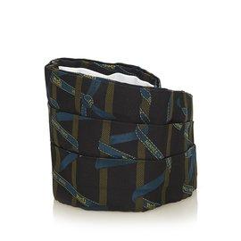 Hermès-Wide Silk Belt-Black,Multiple colors