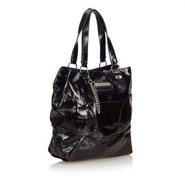 Céline-Patent Leather Tote Bag-Black