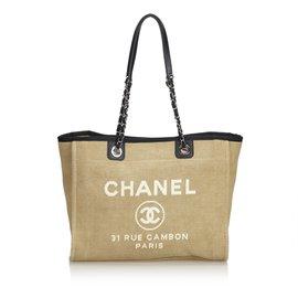 Chanel-Petit cabas Deauville-Marron,Noir,Beige