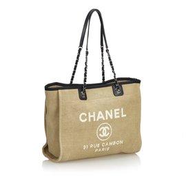 Chanel-Small Deauville Tote-Brown,Black,Beige