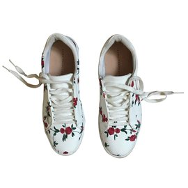 Zara-Baskets Fleurs brodées-Blanc
