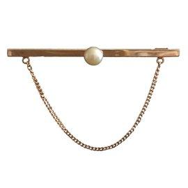 Autre Marque-Broche Barrette Or 18K + Perle de culture Vintage-Doré
