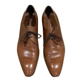 Prada-Derby smooth leather tawny T. 8 (42)-Cognac