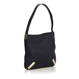 Fendi-Canvas Shoulder Bag with Embossed Leather Strap-Black