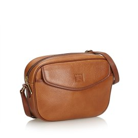 Burberry-Leather Crossbody Bag-Brown