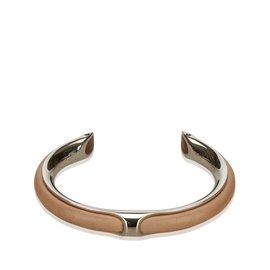 Hermès-Bracelet en cuir métallisé-Marron,Argenté,Beige