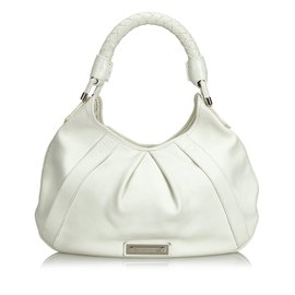 Burberry-Leather Hobo Bag-White