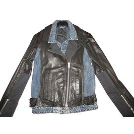 All Saints-perfecto cuir d'agneau et jeans All Saints, état neuf-Noir,Bleu Marine