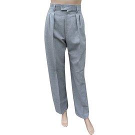 Yves Saint Laurent-Pantalons, leggings-Gris
